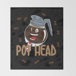 Funny Coffee Bean Pot Head Throw Blanket