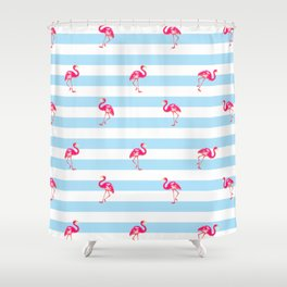 Flamingo, tropical summer, Flamingo pattern, blue Shower Curtain