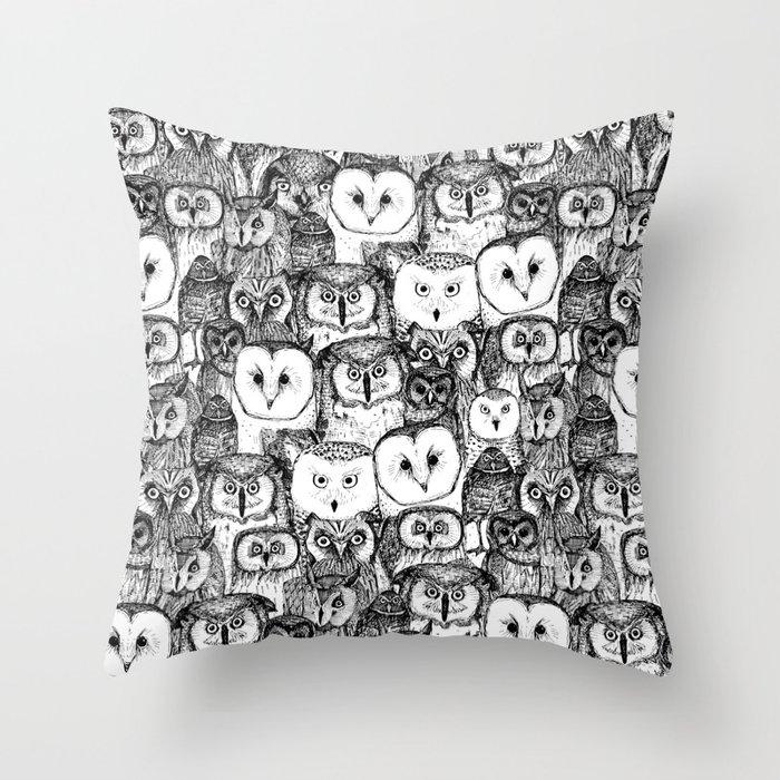 just owls black white Throw Pillow