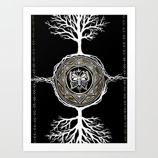 Butterfly Tree Mandala Art Print