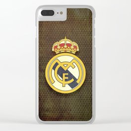 Real Madrid CF metal background Clear iPhone Case