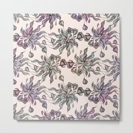 Vintage floral seamless pattern with hand drawn coloring  crocus Metal Print