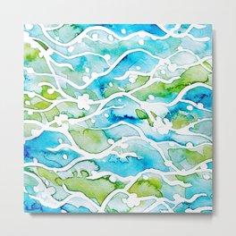 Waves Watercolor Metal Print