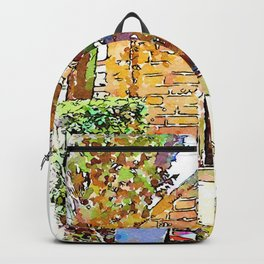 Barbarano Romano: garbage can and chapel Backpack
