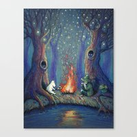 moomin Canvas Prints featuring Moomin's night by nokeek