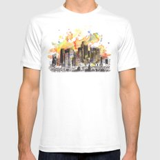 Los Angeles Cityscape Skyline Painting MEDIUM White Mens Fitted Tee
