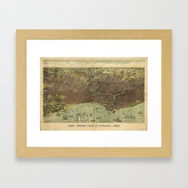 Vintage Pictorial Map of Chicago IL (1893) Framed Art Print