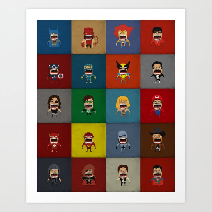 Screaming Heroes Art Print