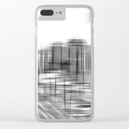 pencil drawing buildings in the city in black and white Clear iPhone Case