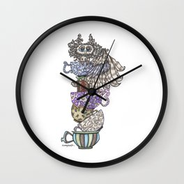Owlice Wants Another Cup of Tea Wall Clock