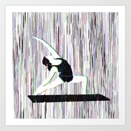 Yoga Glitch Art Print