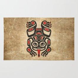 Red and Black Haida Spirit Tree Frog Rug