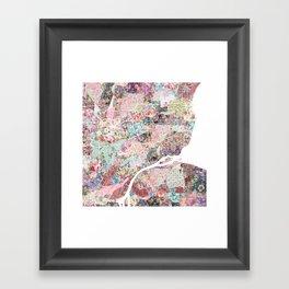 Detroit map flowers Framed Art Print