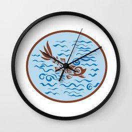 Medieval Fish Swimming Oval Retro Wall Clock