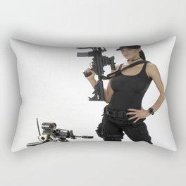 Swat Chick- Girl with SWAT Gear, Military Gun and Tactical Robot Rectangular Pillow