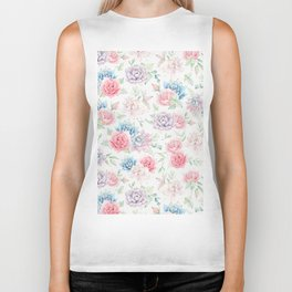 Blush pink teal watercolor hand painted cactus flowers Biker Tank
