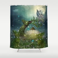 bebop Shower Curtains featuring Keeper of the Enchanted - Spring Thaw by soaring anchor designs