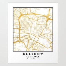 GLASGOW SCOTLAND CITY STREET MAP ART Art Print