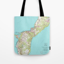 Vintage Topographical Map of Guam Tote Bag