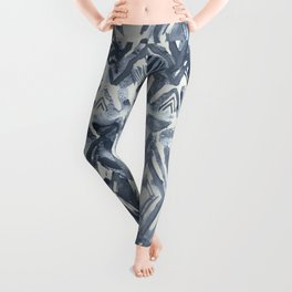 Simply Ikat Ink in Indigo Blue on Lunar Gray Leggings