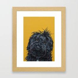 Sweet Puli Puppy Painting, Dreadlock Dog Art, Puli Dog Portrait Framed Art Print