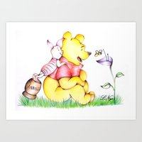 winnie the pooh Art Prints featuring Winnie the Pooh & Piglet by laura nye.