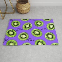Kiwi Go Again Funny Kiwi Fruit Pun Pattern (purple) Rug