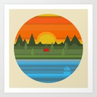 camping Art Prints featuring Camping by Becky Gibson