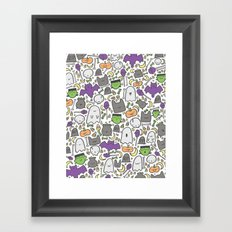Kawaii Halloween - White Framed Art Print