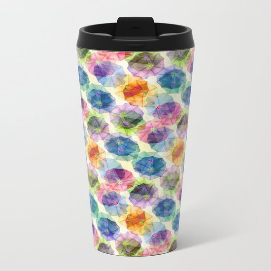 Funnel Flower Pattern Metal Travel Mug