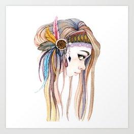 BOHO-GIRL-DRAW Art Print