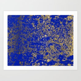 Royal Blue and Gold Patina Design Art Print