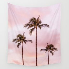 Palm Tree Photography Landscape Sunset Unicorn Clouds Blush Millennial Pink Wall Tapestry