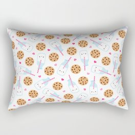 Happy Milk and Cookies Pattern Rectangular Pillow