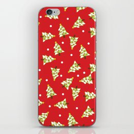 Red Green Modern Christmas Tree iPhone Skin