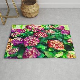 Garden Hydrangea - Raspberry Pink and Lavender Rug