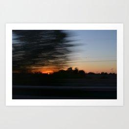 Sunset on the road Art Print