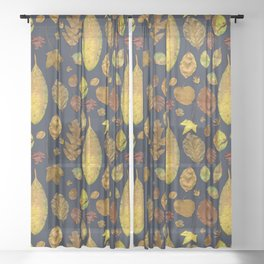 Nunnery Leaves - Blue Sheer Curtain