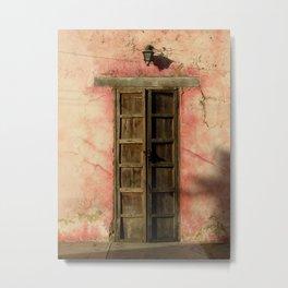 Pink House with Antique Door in Golden Light Metal Print