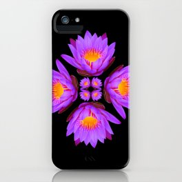 Purple Lily Flower - On Black iPhone Case