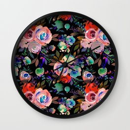 Pink red blue watercolor hand painted flowers Wall Clock