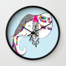 Indian Elephant Decorated with Art and Jewelry/Indian Elephant Art Wall Clock