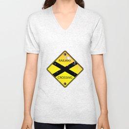 Yellow Railway Crossing Sign Unisex V-Neck