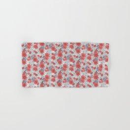 Crimson and Silver Floral Hand & Bath Towel