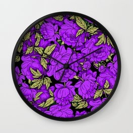 Purple Peonies Wall Clock