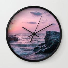 Ocean landscape at sunset Wall Clock