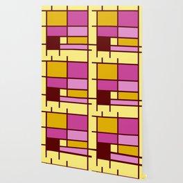 Mondrianista yellow fuchsia Wallpaper