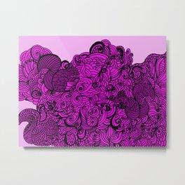 Squirrels Zentangle Drawing Pink Metal Print