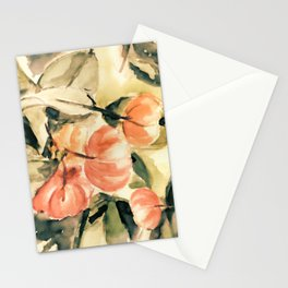 Watercolor Pitangas - Fruits in coral, light yellow and green Stationery Cards