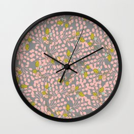Floral - pink pattern Wall Clock